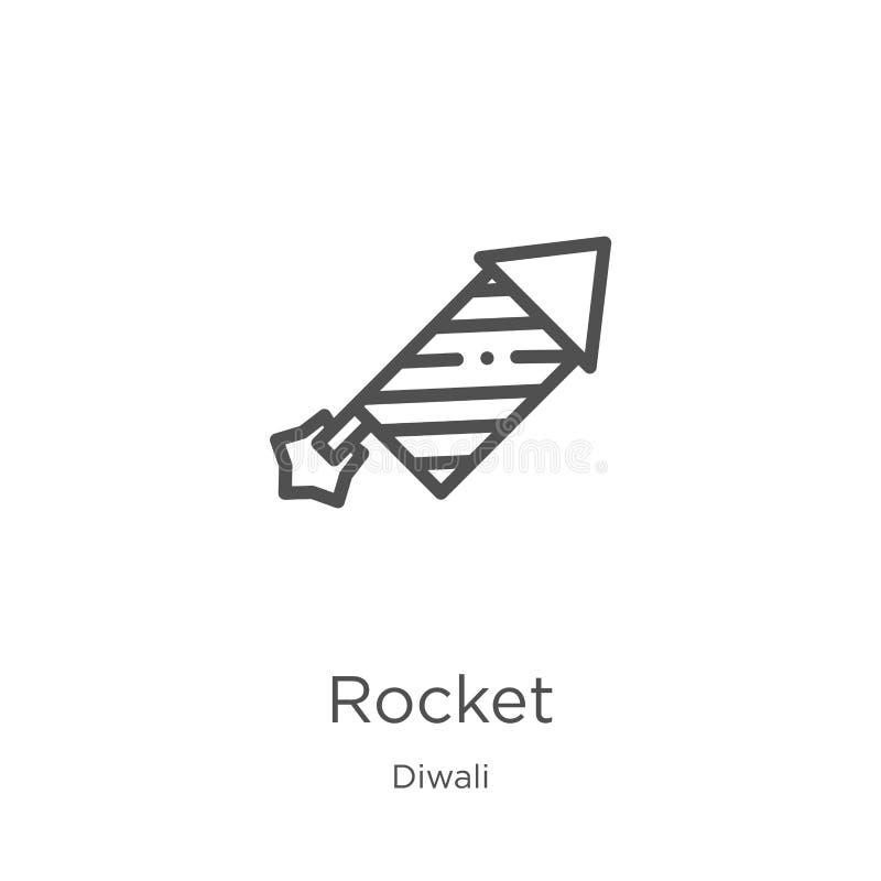 vector del icono del cohete de la colecci?n del diwali L?nea fina ejemplo del vector del icono del esquema del cohete Esquema, l? stock de ilustración