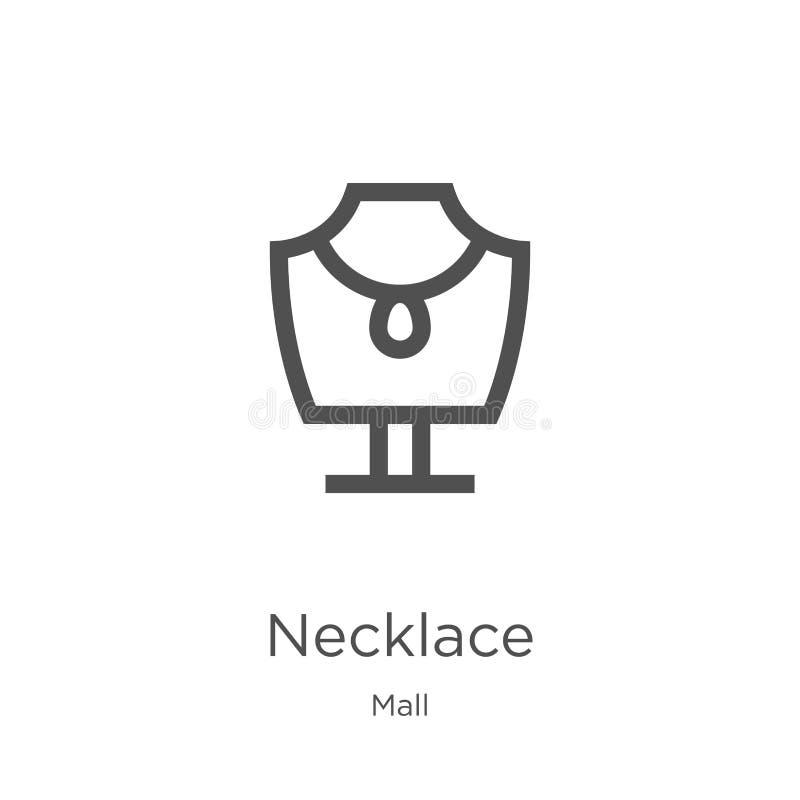 vector del icono del collar de la colección de la alameda L?nea fina ejemplo del vector del icono del esquema del collar Esquema, ilustración del vector