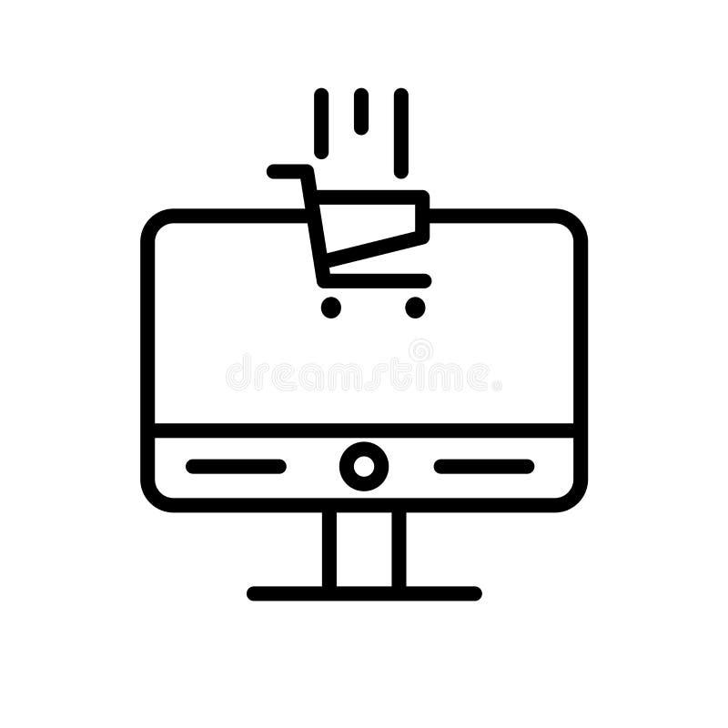 Vector del icono del comercio electrónico aislado en el fondo blanco, la muestra del comercio electrónico, la línea o la muestra  stock de ilustración