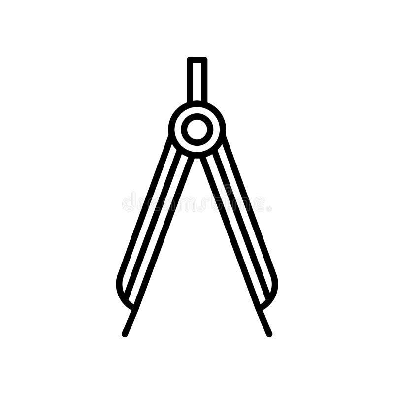 Vector del icono del compás aislado en el fondo blanco, muestra del compás, línea fina elementos del diseño en estilo del esquema stock de ilustración