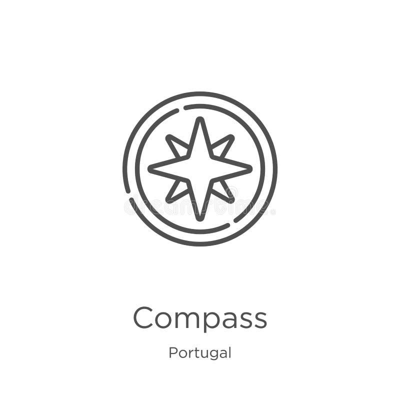 vector del icono del compás de la colección de Portugal L?nea fina ejemplo del vector del icono del esquema del comp?s Esquema, l ilustración del vector