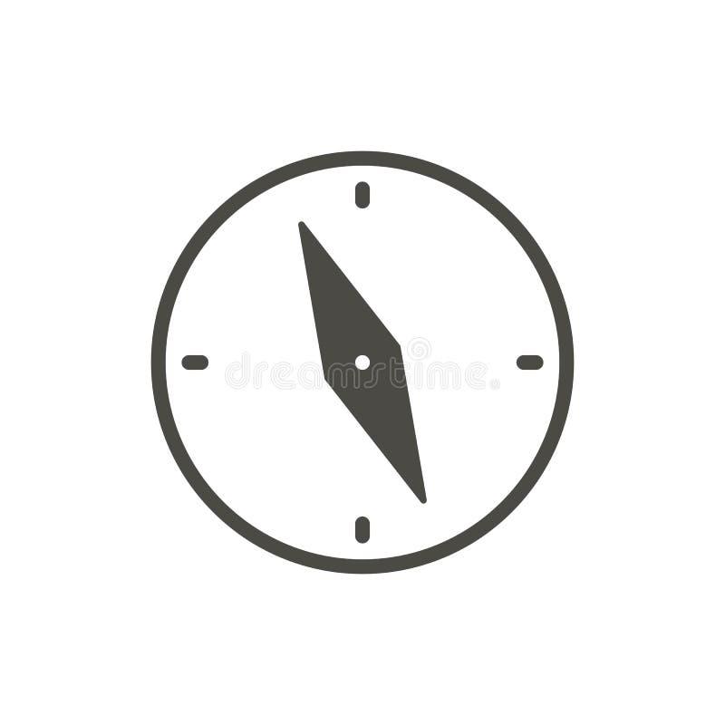Vector del icono del compás Símbolo de la navegación aislado Diseño plano de moda de la muestra del ui Pictogr del gráfico del co stock de ilustración