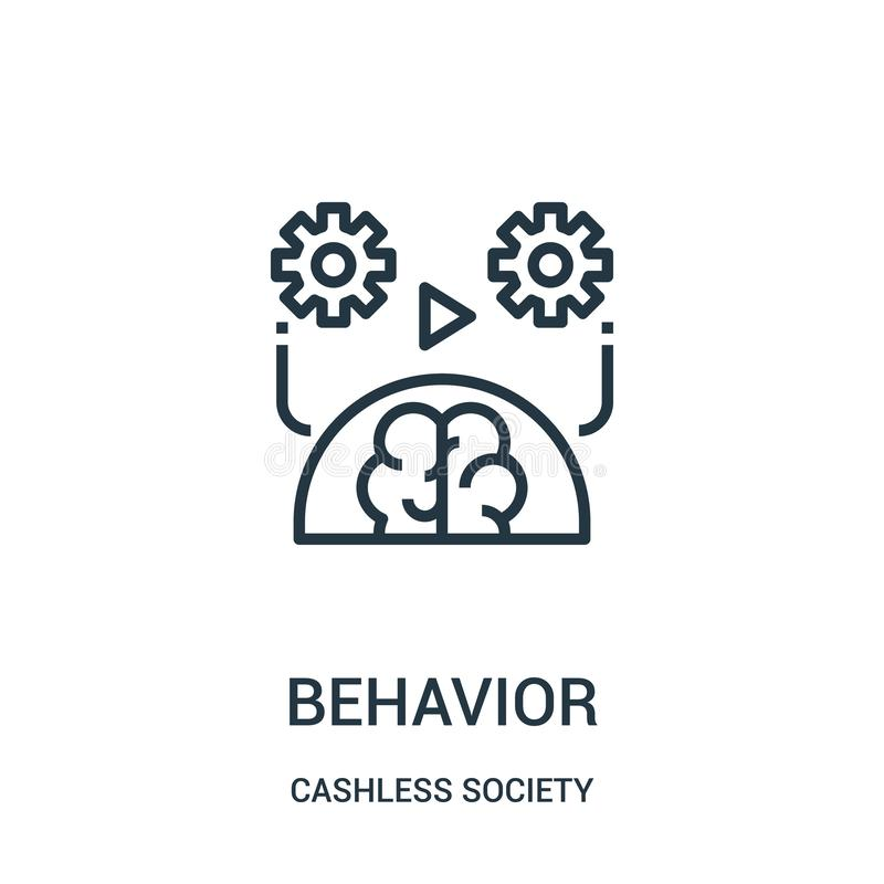 vector del icono del comportamiento de la colección cashless de la sociedad Línea fina ejemplo del vector del icono del esquema d ilustración del vector