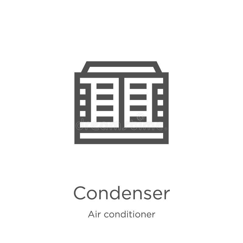 vector del icono del condensador de la colección del aire acondicionado Línea fina ejemplo del vector del icono del esquema del c libre illustration