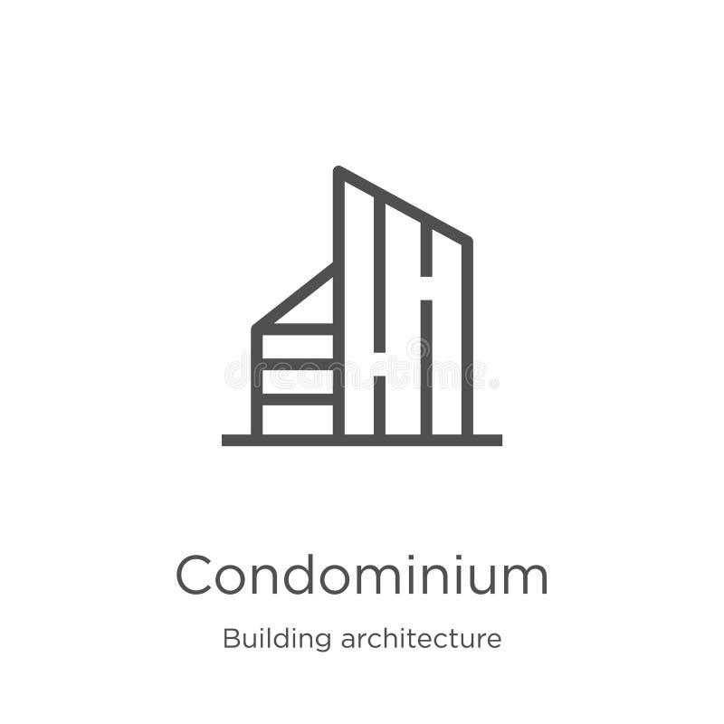 vector del icono del condominio de la colección de la arquitectura del edificio Línea fina ejemplo del vector del icono del esque ilustración del vector