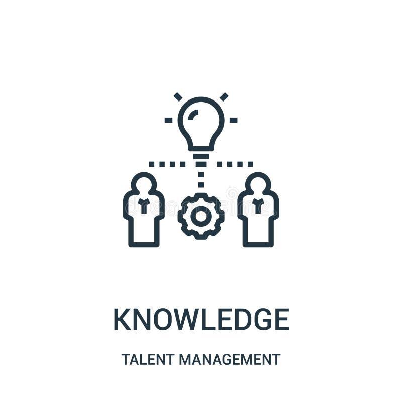 vector del icono del conocimiento de la colección de la gestión del talento L?nea fina ejemplo del vector del icono del esquema d stock de ilustración