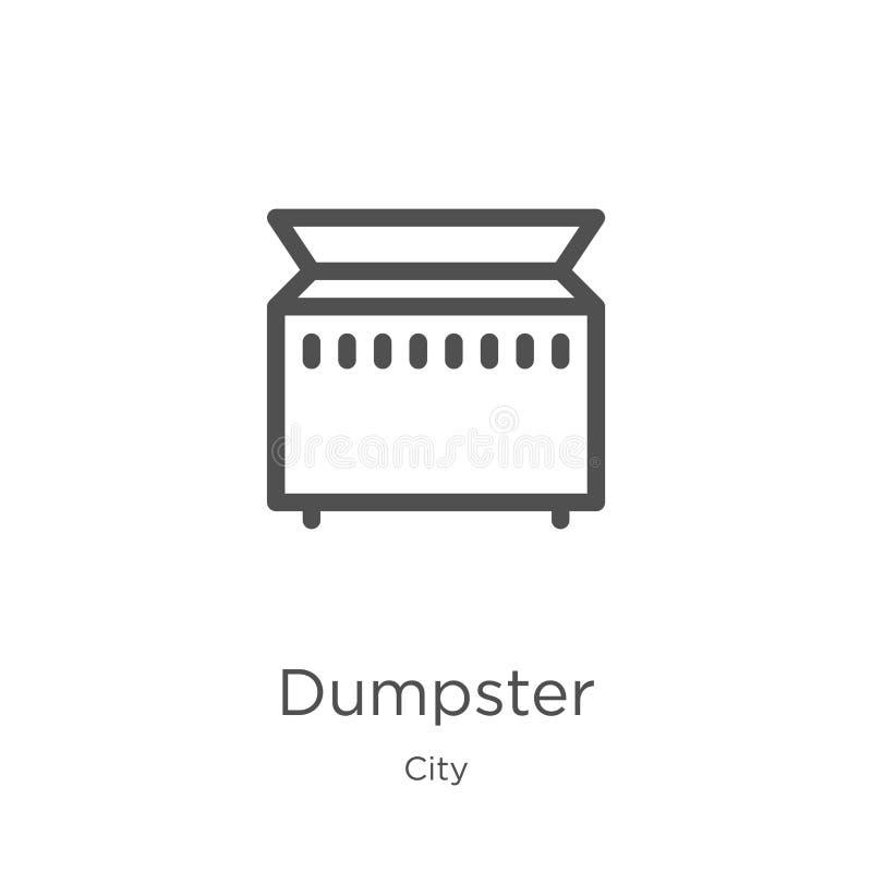 vector del icono del contenedor de la colección de la ciudad Línea fina ejemplo del vector del icono del esquema del contenedor E stock de ilustración