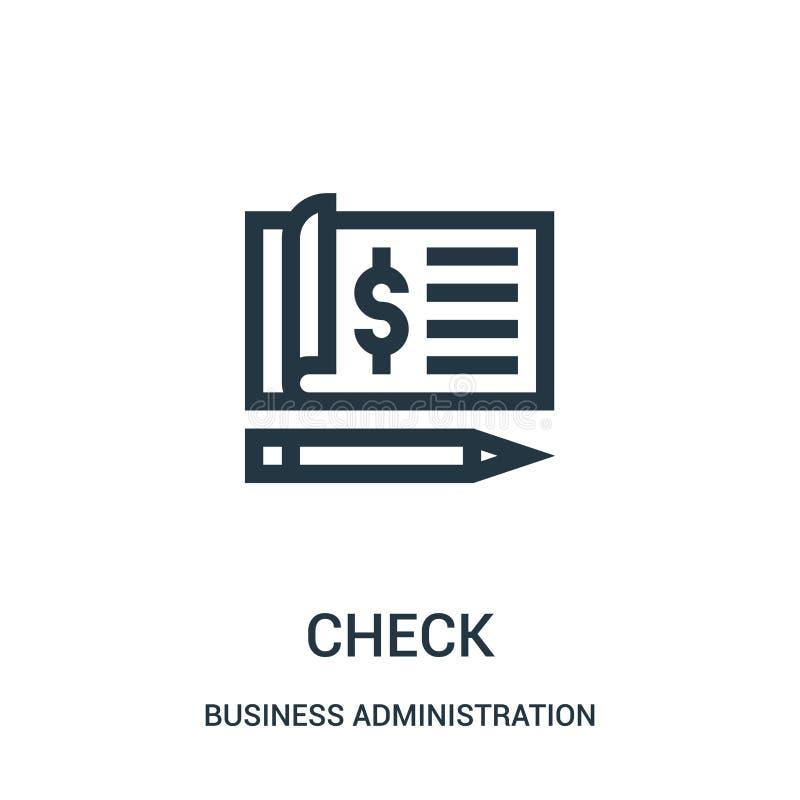 vector del icono del control de la colección de la administración de empresas L?nea fina ejemplo del vector del icono del esquema stock de ilustración