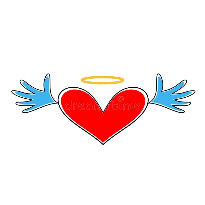 Vector del icono del corazón Corazón con las alas y halo aislados en el fondo blanco Símbolo del corazón del día de tarjeta del d ilustración del vector