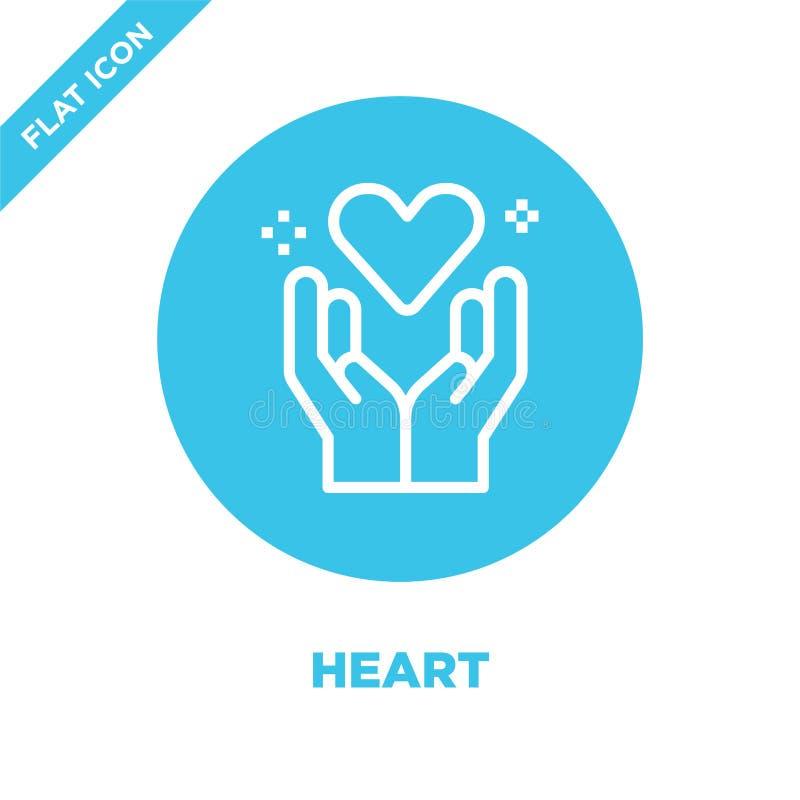 vector del icono del corazón de la colección del amor Línea fina ejemplo del vector del icono del esquema del corazón Símbolo lin libre illustration