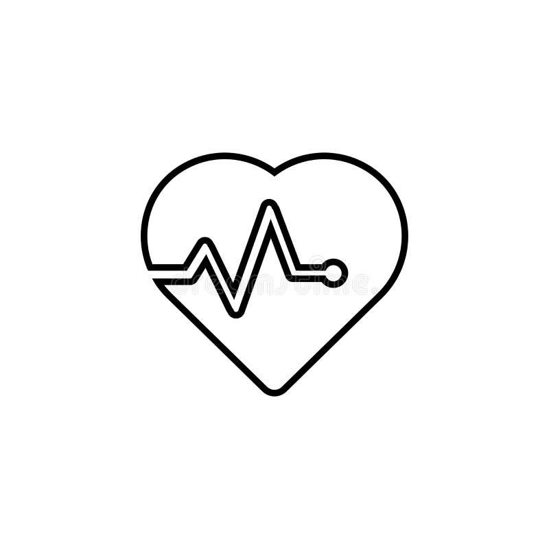 Vector del icono del corazón salud, símbolo perfecto del amor, emblema aislado en el fondo blanco con la sombra stock de ilustración