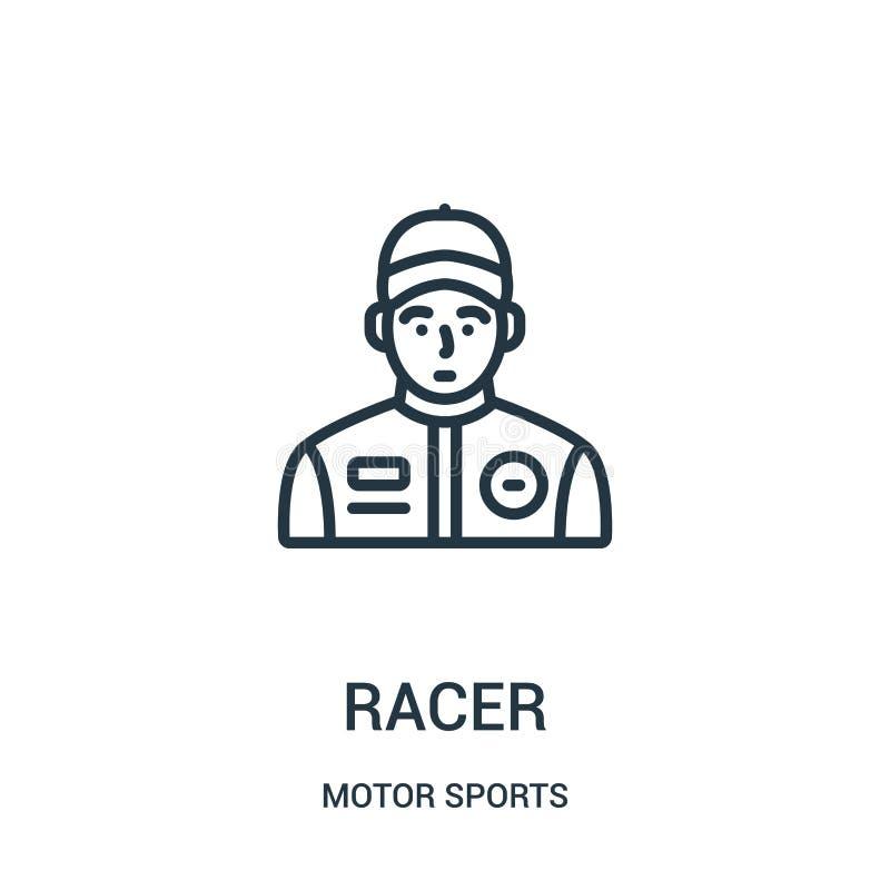 vector del icono del corredor de la colección de los deportes de motor Línea fina ejemplo del vector del icono del esquema del co stock de ilustración