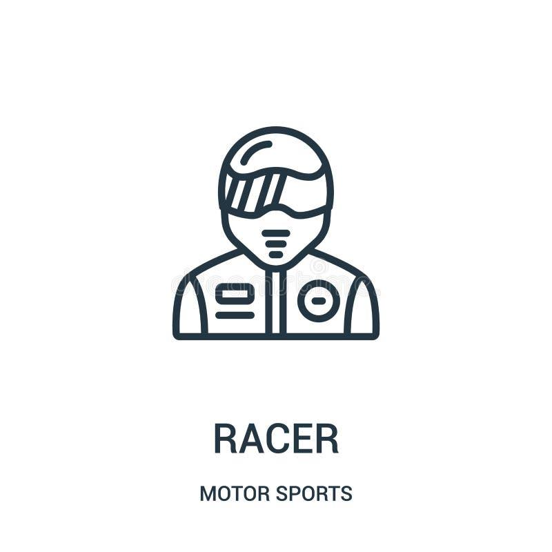 vector del icono del corredor de la colecci?n de los deportes de motor L?nea fina ejemplo del vector del icono del esquema del co libre illustration