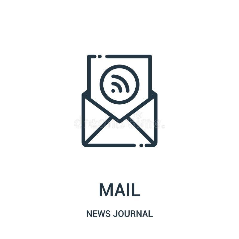 vector del icono del correo de la colección del diario de las noticias Línea fina ejemplo del vector del icono del esquema del co libre illustration