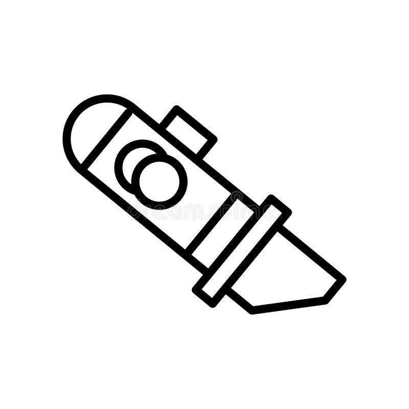 Vector del icono del cortador aislado en el fondo, la muestra del cortador, la línea y los elementos blancos del esquema en estil libre illustration