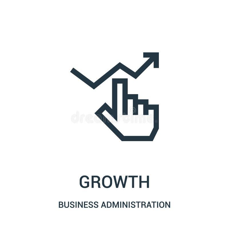 vector del icono del crecimiento de la colección de la administración de empresas Línea fina ejemplo del vector del icono del esq stock de ilustración