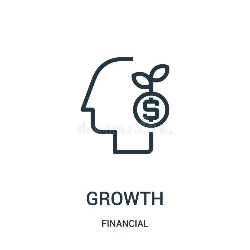 vector del icono del crecimiento de la colección financiera Línea fina ejemplo del vector del icono del esquema del crecimiento S stock de ilustración
