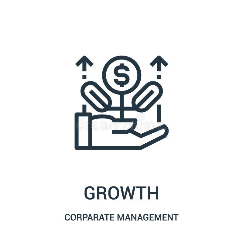 vector del icono del crecimiento de la colección de la gestión corporativa Línea fina ejemplo del vector del icono del esquema de stock de ilustración