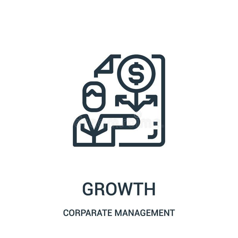 vector del icono del crecimiento de la colección de la gestión corporativa Línea fina ejemplo del vector del icono del esquema de libre illustration