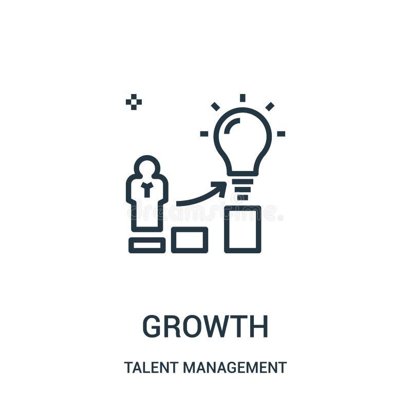 vector del icono del crecimiento de la colección de la gestión del talento Línea fina ejemplo del vector del icono del esquema de libre illustration