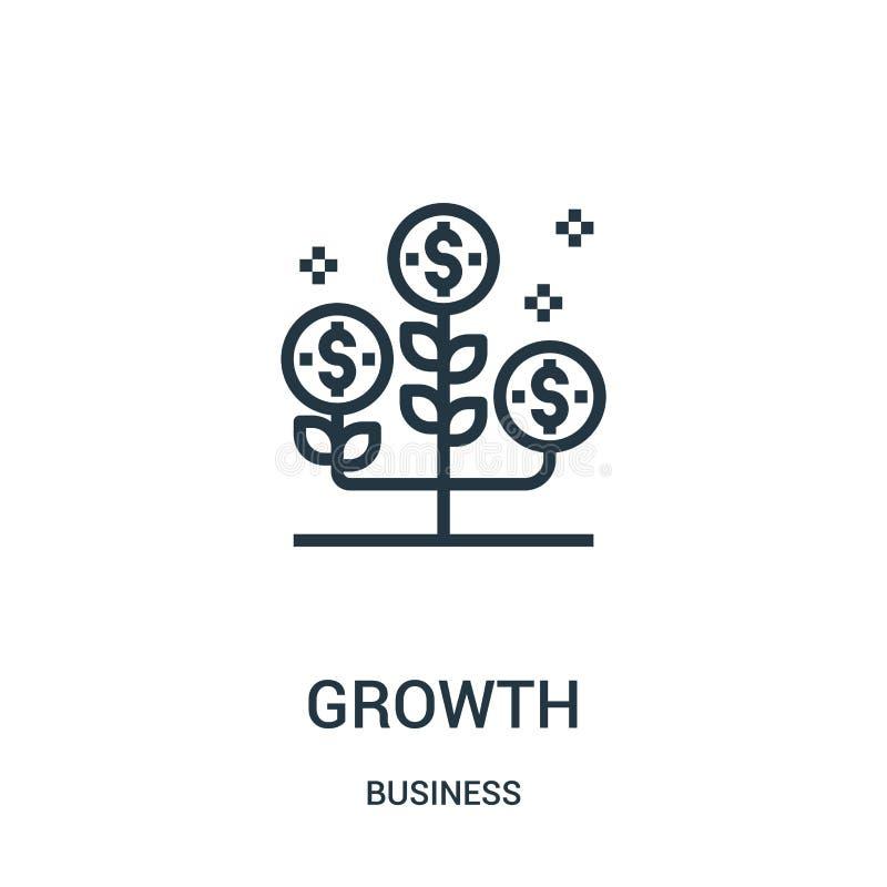 vector del icono del crecimiento de la colección del negocio Línea fina ejemplo del vector del icono del esquema del crecimiento  stock de ilustración