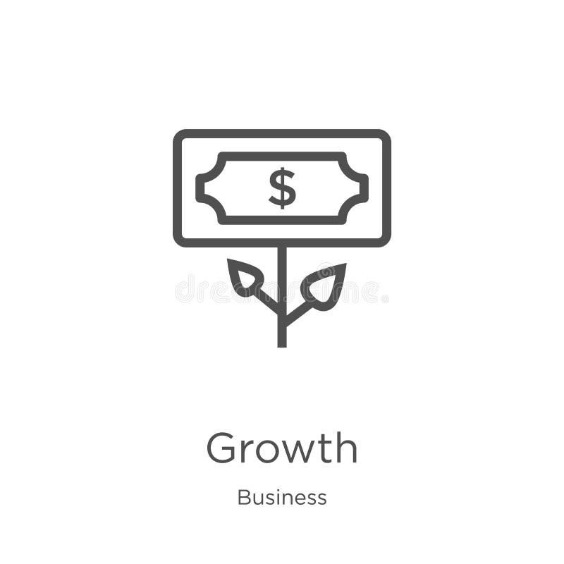 vector del icono del crecimiento de la colecci?n del negocio L?nea fina ejemplo del vector del icono del esquema del crecimiento  stock de ilustración