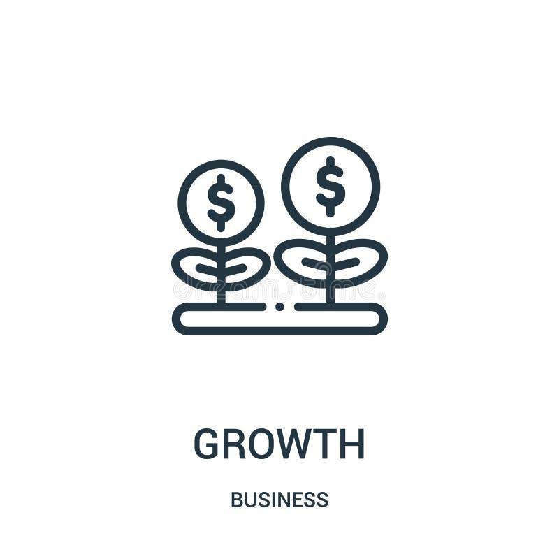 vector del icono del crecimiento de la colecci?n del negocio L?nea fina ejemplo del vector del icono del esquema del crecimiento  libre illustration