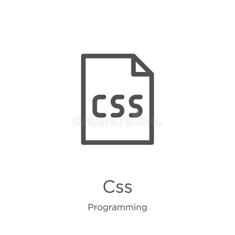 vector del icono del css de la colección programada Línea fina ejemplo del vector del icono del esquema del css Esquema, línea fi stock de ilustración