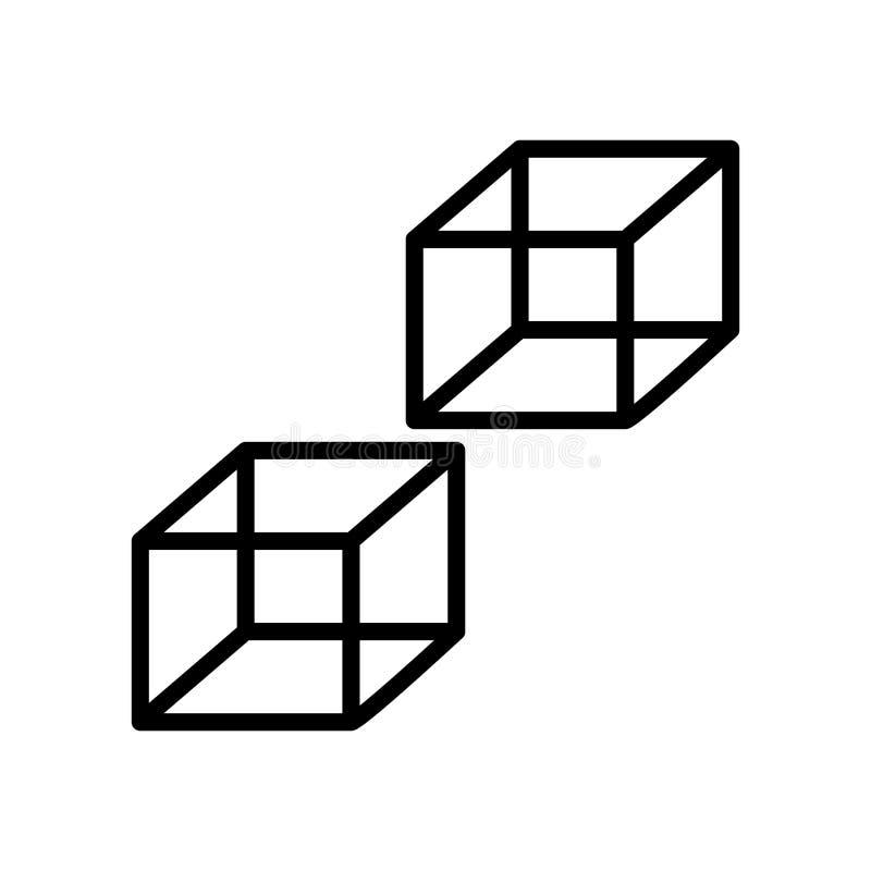 Vector del icono del cubo aislado en el fondo, la muestra del cubo, la línea y los elementos blancos del esquema en estilo linear stock de ilustración