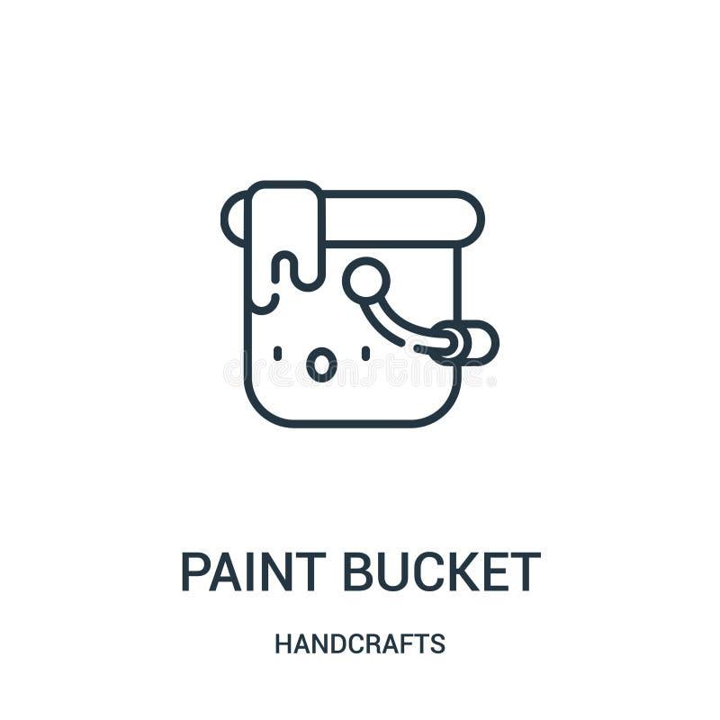 vector del icono del cubo de la pintura de la colección de las artesanías Línea fina ejemplo del vector del icono del esquema del ilustración del vector