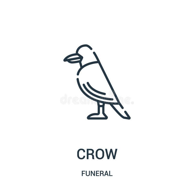 vector del icono del cuervo de la colección fúnebre Línea fina ejemplo del vector del icono del esquema del cuervo Símbolo linear stock de ilustración