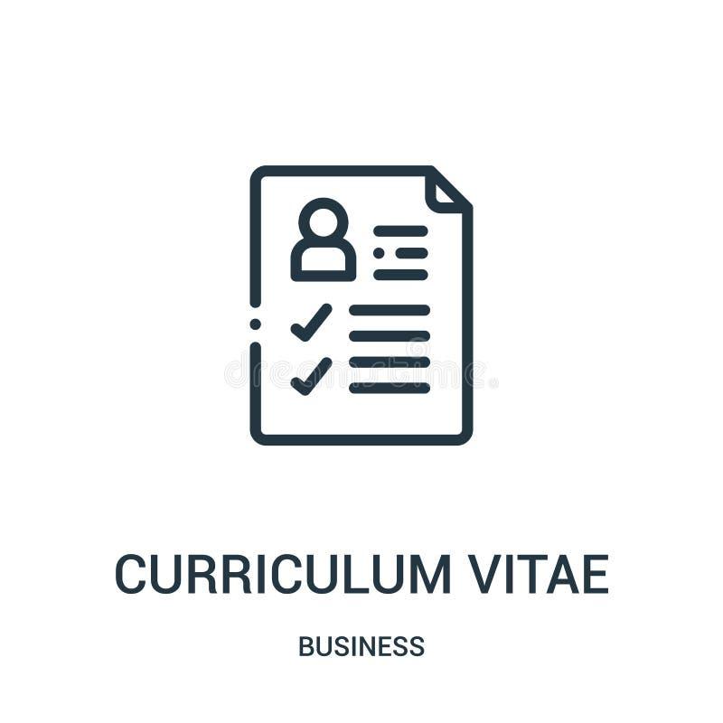 vector del icono del curriculum vitae de la colección del negocio Línea fina ejemplo del vector del icono del esquema del curricu ilustración del vector