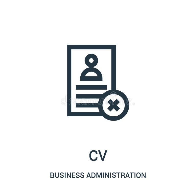 vector del icono del cv de la colección de la administración de empresas Línea fina ejemplo del vector del icono del esquema del  ilustración del vector