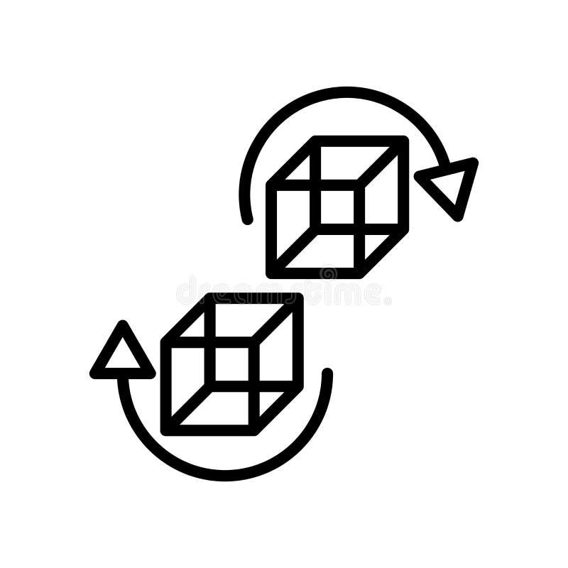 vector del icono 3d aislado en los elementos blancos del fondo, de la muestra 3d, de la línea y del esquema en estilo linear stock de ilustración