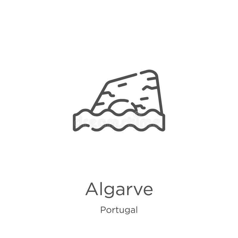 vector del icono de Algarve de la colección de Portugal Línea fina ejemplo del vector del icono del esquema de Algarve Esquema, l stock de ilustración