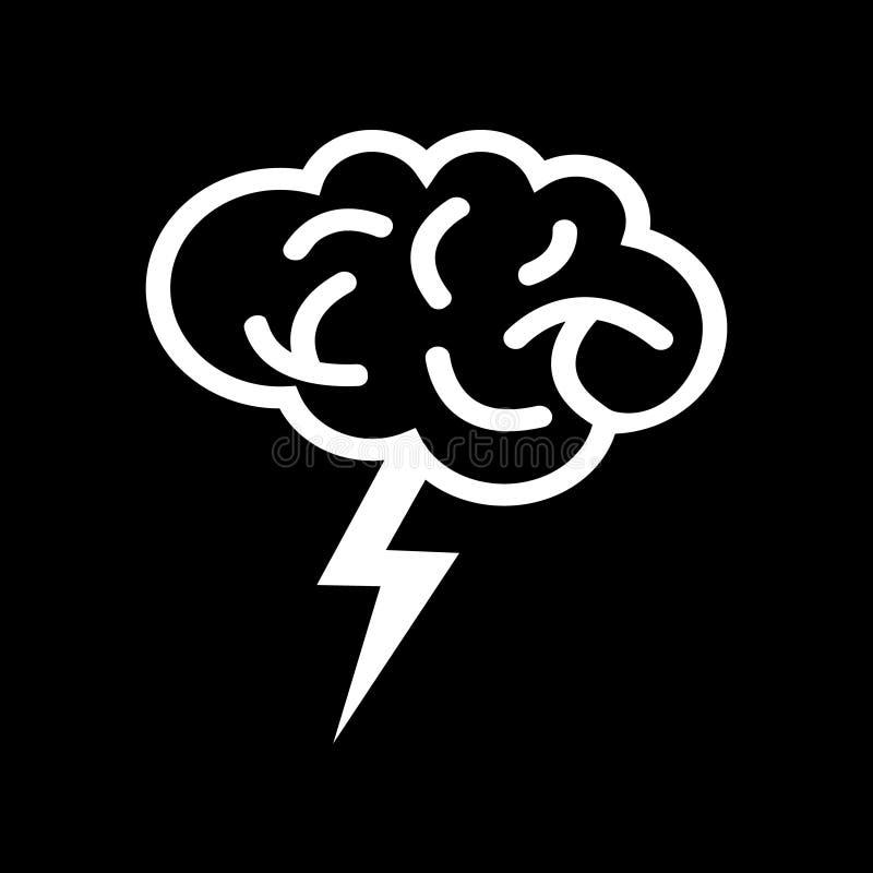 Vector del icono de Brain With Thunder Logo ilustración del vector