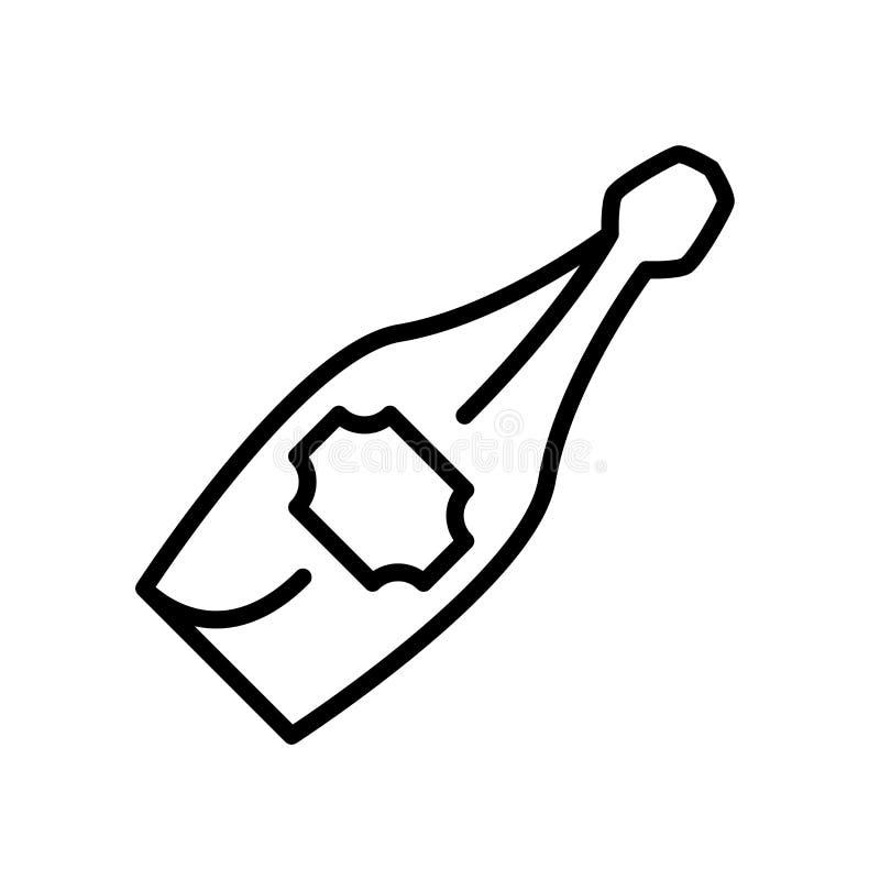 Vector del icono de Champán aislado en el fondo, la muestra de Champán, la línea y los elementos blancos del esquema en estilo li ilustración del vector