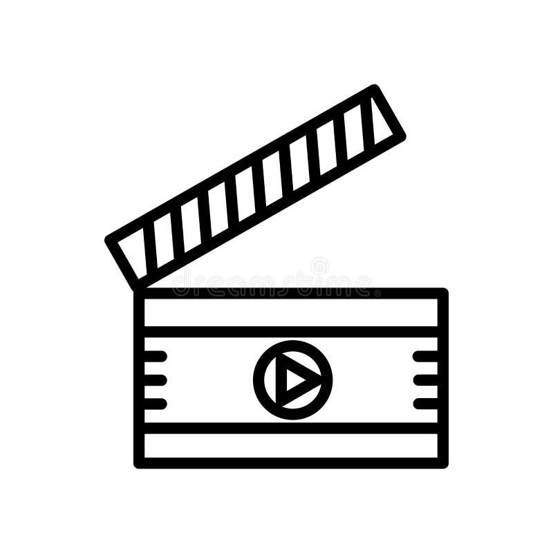 Vector del icono de Clapperboard aislado en el fondo, la muestra de Clapperboard, la línea y los elementos blancos del esquema en libre illustration