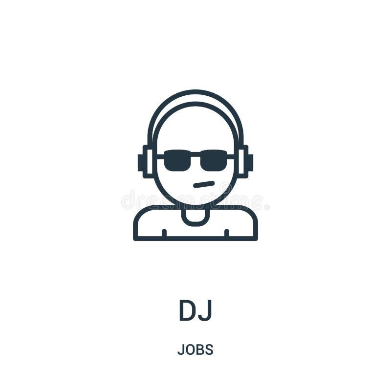 vector del icono de DJ de la colección de los trabajos Línea fina ejemplo del vector del icono del esquema de DJ S?mbolo linear libre illustration