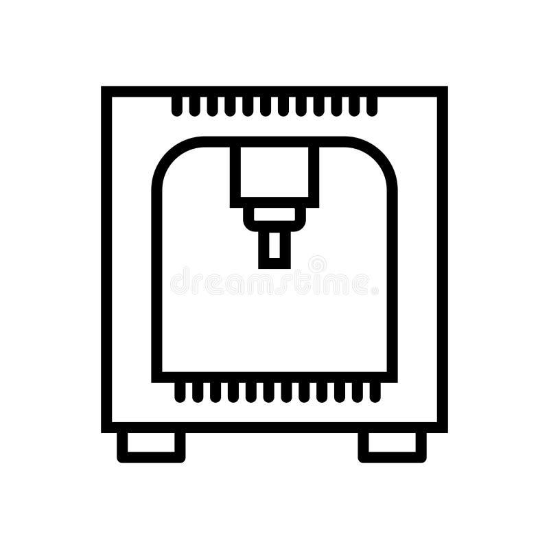 Vector del icono de impresora aislado en el fondo, la muestra de la impresora, la línea y los elementos blancos del esquema en es ilustración del vector