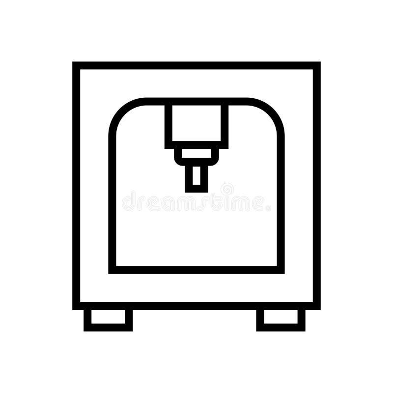 vector del icono de impresora 3d aislado en la muestra blanca del fondo, de la impresora 3d, línea y elementos del esquema en est libre illustration