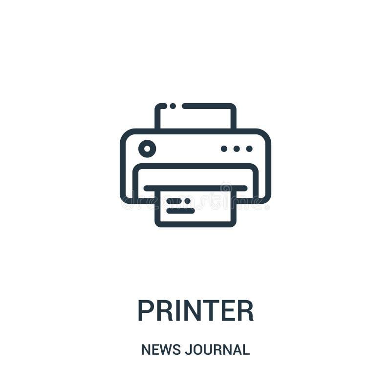 vector del icono de impresora de la colección del diario de las noticias Línea fina ejemplo del vector del icono del esquema de l libre illustration