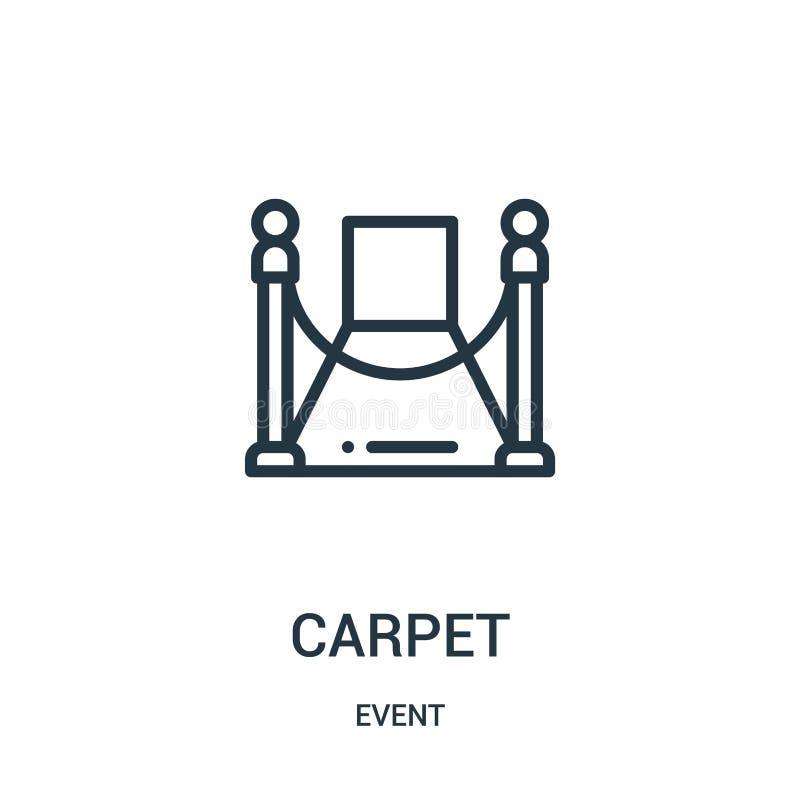vector del icono de la alfombra roja de la colección del acontecimiento Línea fina ejemplo del vector del icono del esquema de la ilustración del vector
