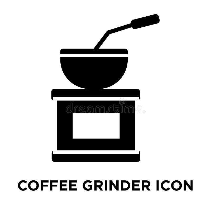 Vector del icono de la amoladora de café aislado en el fondo blanco, logotipo co stock de ilustración