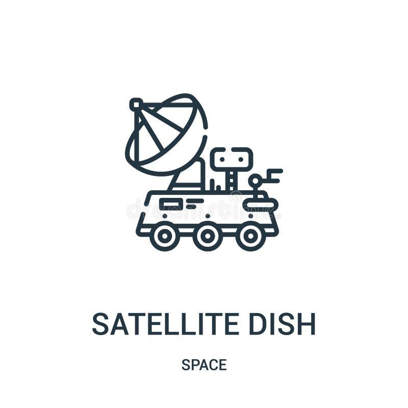 vector del icono de la antena parabólica de la colección del espacio Línea fina ejemplo del vector del icono del esquema de la an stock de ilustración
