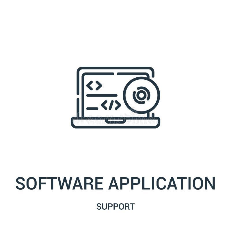 vector del icono de la aplicación de software de la colección de la ayuda Línea fina ejemplo del vector del icono del esquema de  ilustración del vector
