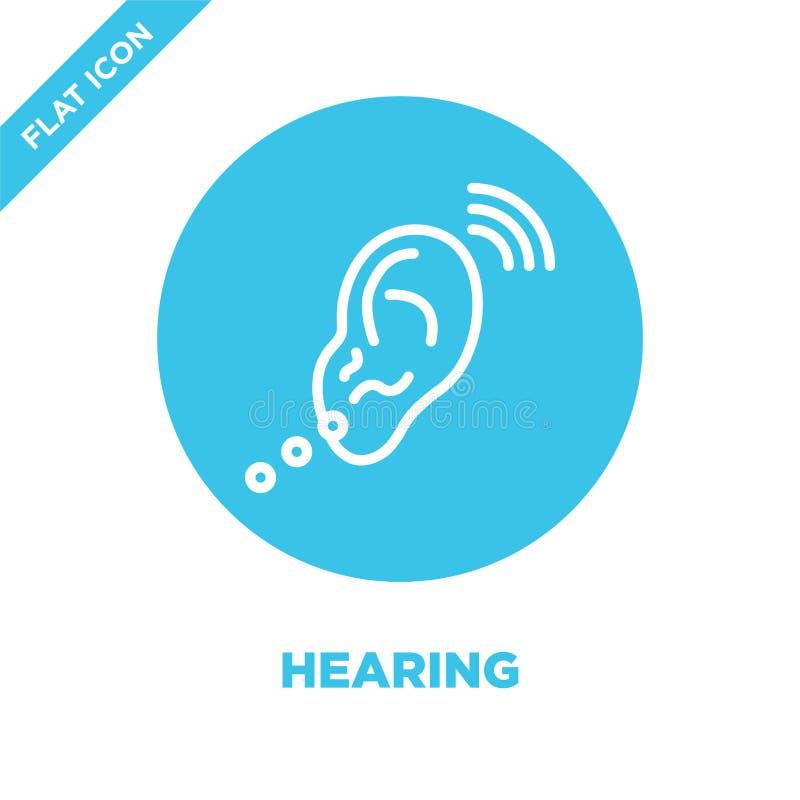 vector del icono de la audición de la colección de la accesibilidad Línea fina ejemplo del vector del icono del esquema de la aud stock de ilustración
