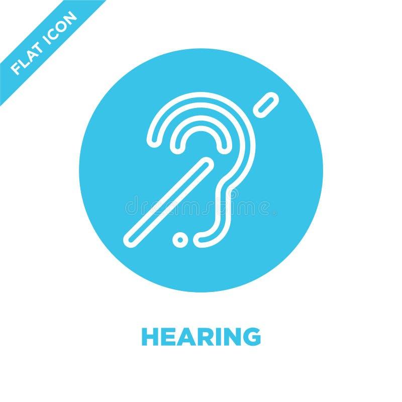 vector del icono de la audición de la colección de la accesibilidad Línea fina ejemplo del vector del icono del esquema de la aud ilustración del vector