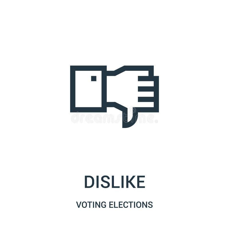 vector del icono de la aversión de la colección de votación de las elecciones L?nea fina ejemplo del vector del icono del esquema ilustración del vector