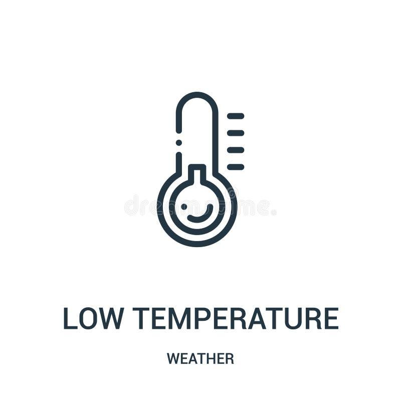vector del icono de la baja temperatura de la colección del tiempo Línea fina ejemplo del vector del icono del esquema de la baja stock de ilustración
